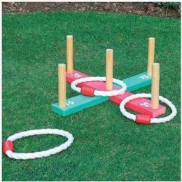 Childrens Kids Garden Toys Outdoor Rope Quoits & Wooden Pegs Throwing Game